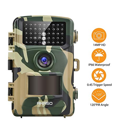 AKASO Trail Camera Game Camera 14MP 1080P Wildlife Hunting Scouting Camera IP66 Waterproof Camera with 120° Detecting Range Motion Activated Night Vision 2.4inch LCD IR LED TC04
