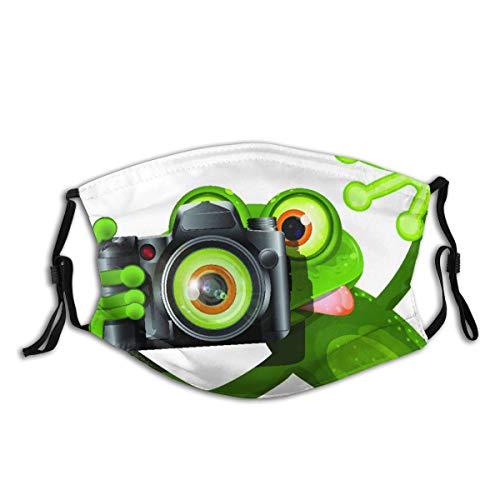 AIKIBELL Wiederverwendbares Halbtuch Bandana,Fotograf Merry Green Frog, der mit seiner Kamera niedlich lustig kunstvoll nimmt,Einstellbare Sport Outdoor Mundabdeckung