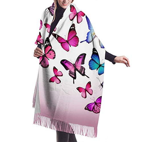 Butterfly Drawing Flying Colorful Imitate Cashmere Feel Winter Scarf Pashmina Shawl Wraps Soft Warm Blanket Scarves Elegant Wrap For Women