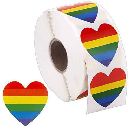 SAVITA 1000 Stück Gay Pride Sticker Herzform Liebe Regenbogen Aufkleber Streifen Herzform Rolle Klebeband
