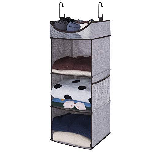 StorageWorks - Organizador de Armario para Colgar, 3 estantes para Colgar con Estante Superior, 30 cm de Ancho x 30 cm de Profundidad x 81 cm de Alto, Espacio Extra Grande, Gris