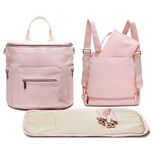 Leather Diaper Bag Backpack by Miss Fong, Baby Bag,Backpack Diaper Bag with Changing Pad,Wipes Pouch,Diaper Bag Organizer,Stroller Straps and Insulated Pockets(Pink Rose)