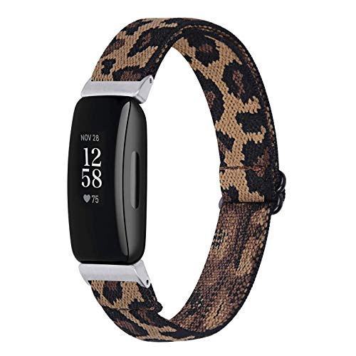 Chofit Correa compatible con Fitbit Inspire 2 correas, correa de nailon ajustable, tejido elástico, correa de repuesto para Fitbit Inspire 2 Fitness Tracker (leopardo)