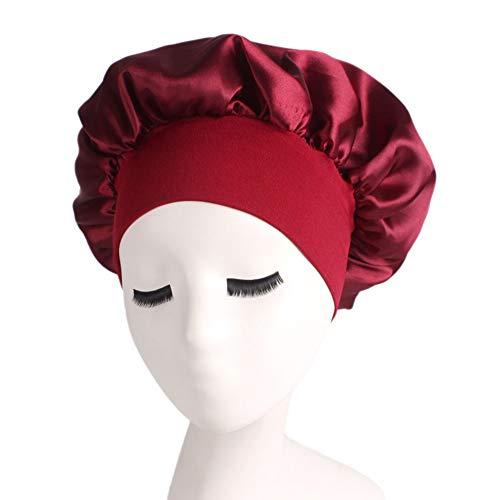 Uyuke Satin Soie Sleeping Cap Soft Night Sleep Hat Full Head Coverage Cap Cap Hair Care Sleeping Head Cover for Women and Girl