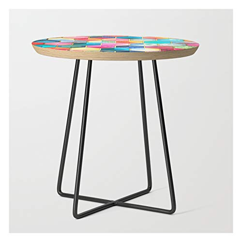 Side Table - Black - Round - Crystal Bohemian Honeycomb Cubes - Colorful Hexagon Pattern by Micklyn