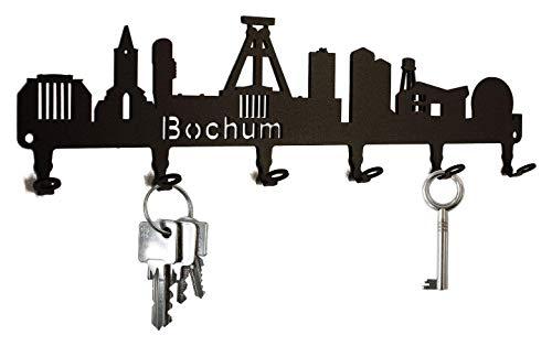 steelprint.de Schlüsselbrett/Hakenleiste * Skyline Bochum * - Schlüsselboard Nordrhein-Westfalen, Schlüsselleiste, 6 Haken, schwarz, Metall