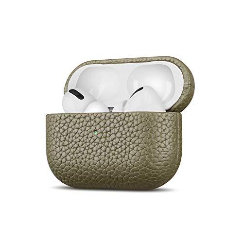 Fooyin [Handmade Series] Custodia in pelle per AirPods Pro, Protettiva Cover (vera pelle di fiore litchi) Antiurto Case Compatibile con Apple AirPods Pro, Giallo