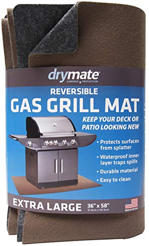 """Drymate Reversible Gas Grill Mat (Charcoal/Brown), (36"""" x 58""""), Under The Grill Protective Deck and Patio Mat - Absorbent/Waterproof/Durable (Made in The USA)"""