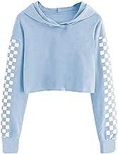 Kids Long Sleeve Crop Tops Girls Cute Plaid Hoodie Sweatshirts 4-12Years Light Blue