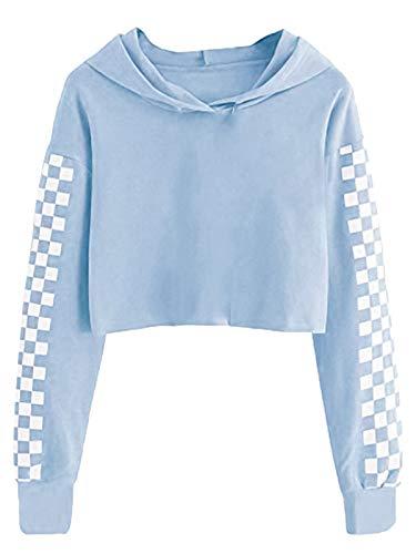 Sudadera con capucha de manga larga para niños de 4 a 12 años, Azul claro, 10-12 Años