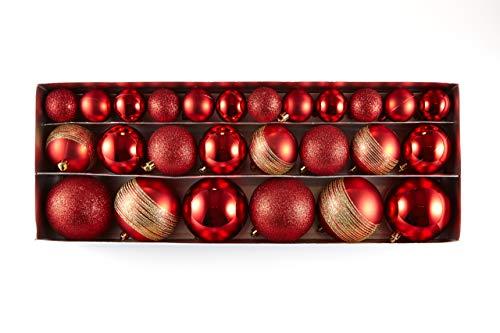HEITMANN DECO Natale - Set di 26 Palline per Albero di Natale 4/6/8 cm - Decorazioni Natalizie da Appendere in Diverse Misure - Palline di plastica Rosse