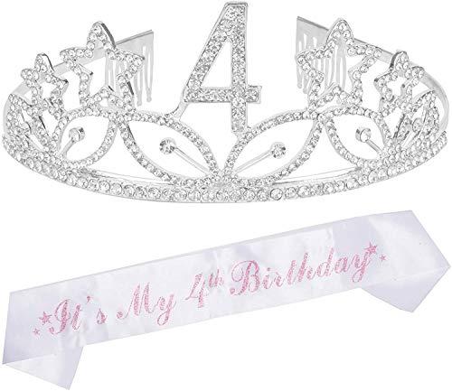 4th Birthday Gifts for Girl, 4th Birthday Tiara and Sash Silver, Happy 4th Birthday Party Supplies, 4 & Fabulous Glitter Satin Sash and Crystal Tiara Birthday Crown for 4th Birthday Party Supplies a