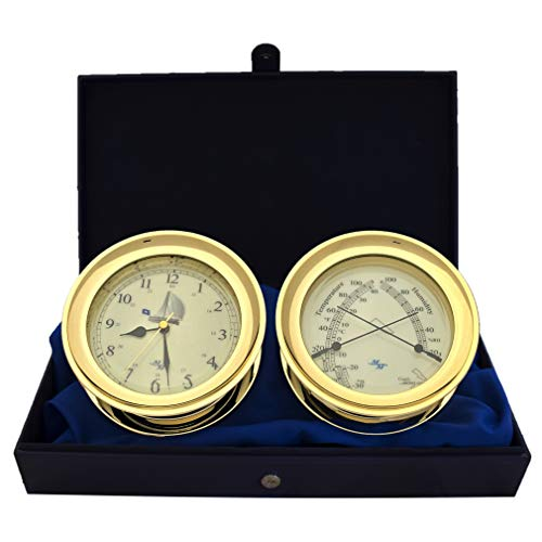 """Master-Mariner All Aboard Collection, Nautical Windlass Gift Set, 5.85"""" Diameter Clock and Comfort Meter Instruments, Gold Finish, Ivory Blue Peter dial"""
