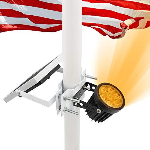 APONUO Solar Flag Pole Light, Flagpole Light Solar Powered Upgraded Bracket Design Fits 1.4-3' Flag Pole 2 Brightness Auto On/Off IP65 Waterproof for Night Lighting Landscape Flag Patio(Warm White)