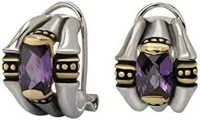 John Medeiros Two Tone Omega Clip Post Earrings with Purple Cubic Zirconia Made in The USA product image