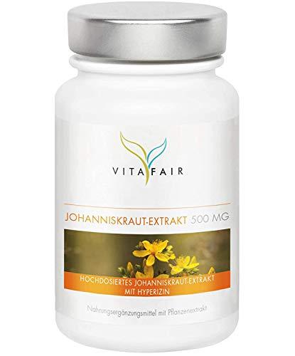 Johanniskraut Extrakt - 500mg pro Tagesdosis - 100 Kapseln - 0,3% Hypericin = 1,5 mg - Vegan - Ohne Magnesiumstearat - Made in Germany