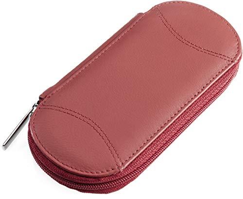 Fodral Tellus rött tomt äkta läder. För montering med nagelsax, filer, pincett etc.