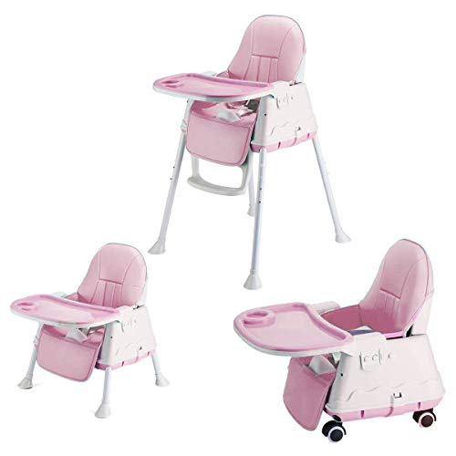 SYGA High Chair for Baby Kids,Safety Toddler Feeding Booster Seat Dining Table Chair with Wheel and Cushion(Pink)