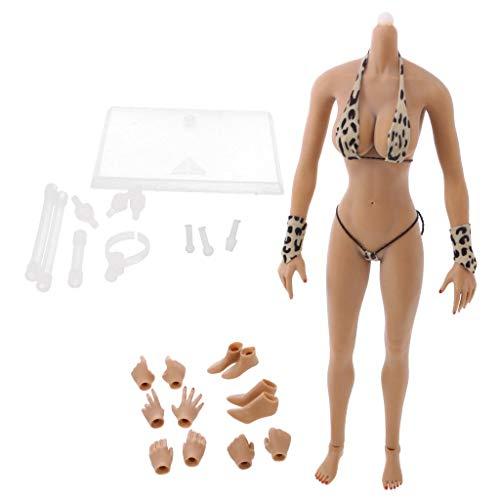 ZSMD 1/6 Scale vrouwelijke figuur naadloze grote borsten lichaam actie figuur in bikini - algemene kleur, C B|Braune Farbe B|bruine kleur