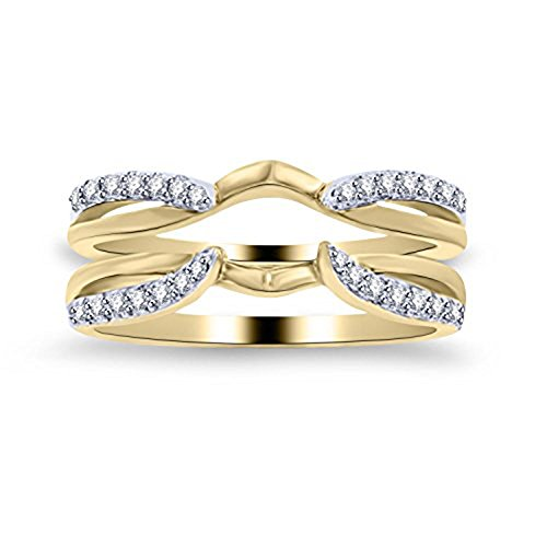 Silver Gems Factory White CZ Diamond Enhancer Solitaire Engagement Ring 1/4 ct 14k Yellow Gold Plated Guard Wrap Jacket (11) (0.25 Ct Gems)