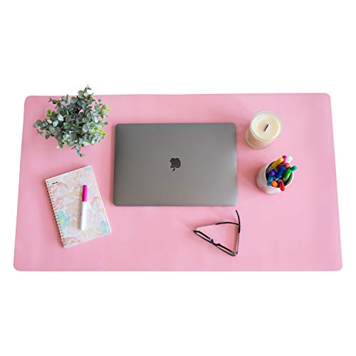 "ZBRANDS // Pink Leather Smooth Desk Mat Pad Blotter Protector, Extended Non-Slip Rectangular, Laptop Keyboard Mouse Pad (24"" x 17"")"