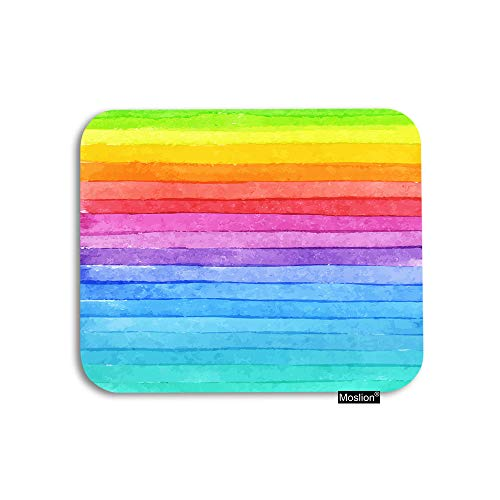 Moslion Rainbow Mouse Pad Geometric Summer Colorful Rainbow Stripes Gaming Mouse Pad Rubber Large Mousepad for Computer Desk Laptop Office Work 7.9x9.5 Inch