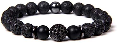 Pulsera de piedra y pulsera, diseño de lava volcánico, cuentas de moda, redonda, micropavo CZ, cuentas para mujeres, hombres, pulseras de yoga, joyas, 5,23 cm