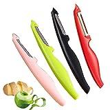 HKBTCH Sparschäler, Gemüseschäler, Obstschäler, Universalschäler mit Pendelklinge, Rechts-und Linkshänder bunt gemischt Set, Spülmaschinengeeignet, 4 Stück