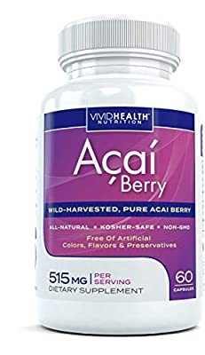 Natural Acai Berry Capsules | Acai Extract Supplement & Antioxidant Rich Superfood | Ideal for Keto, Non GMO and Wild Harvested from Brazil, 515mg, 60 Capsules by Vivid Health Nutrition