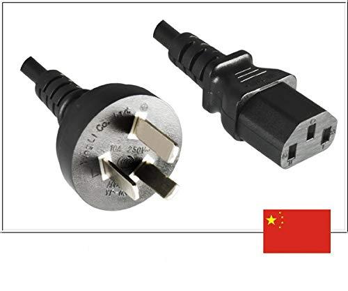 DINIC Stromkabel Netzkabel für China Typ I auf C13 (1,80m, schwarz)