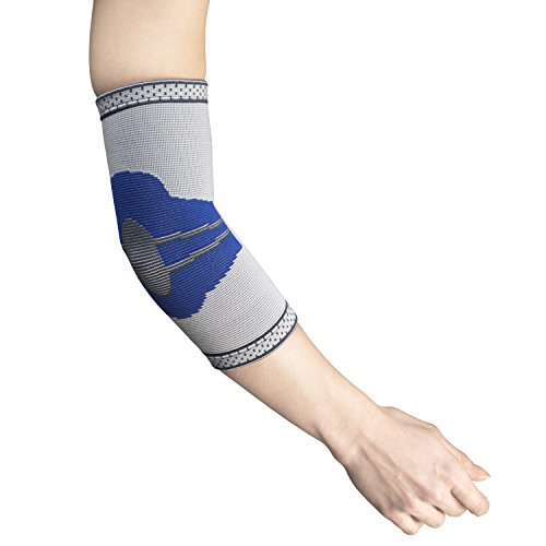 Champion Elastic Elbow Support Compression Sleeve, Gray (Side Stays), Large