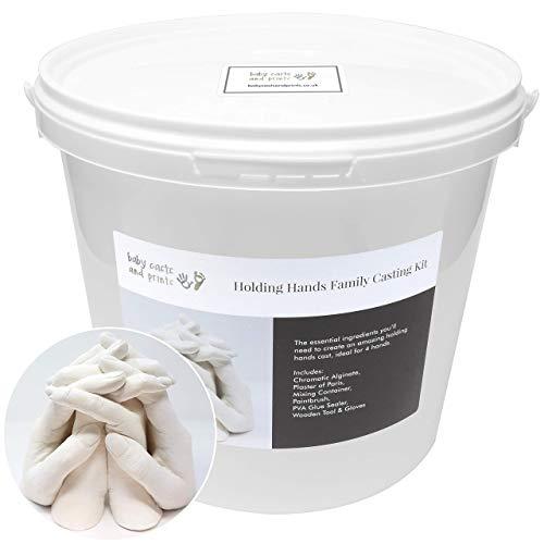 Baby Casts & Prints Kit de moulage 3D pour famille Tenant la main XL - poudre à mouler, plâtre, seau à mélanger, outils - cadeau parfait
