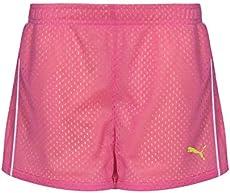 PUMA Big Girls' Active Double Mesh Short, Pink Glo, 12-14 (Large)