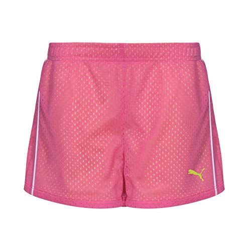 PUMA Big Girls' Active Double Mesh Short, Pink Glo, 8-10 (Medium)