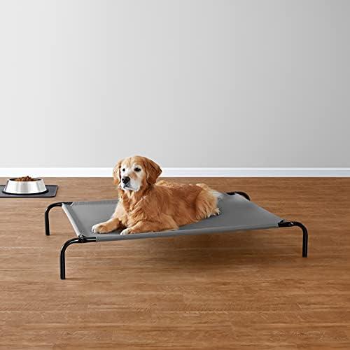 Amazon Basics - Lit surélevé rafraîchissant pour animaux, grand (130,3 x 80 x 19,3 cm), gris