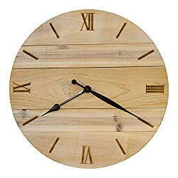 Bjerg Instruments Shiplap Style Wood Clock with Laser Engraved Numbers 14 Diameter