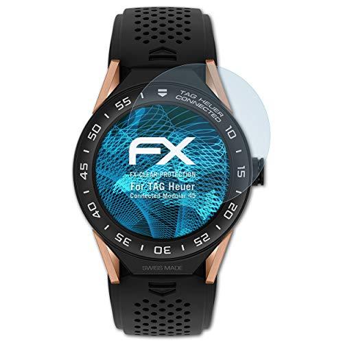 atFoliX Schutzfolie kompatibel mit Tag Heuer Connected Modular 45 Folie, ultraklare FX Bildschirmschutzfolie (3X)