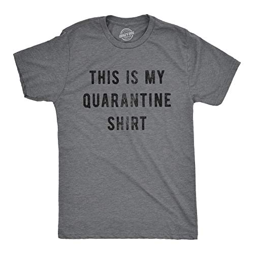 Mens This is My Quarantine Shirt Tshirt Funny Social Distancing Novelty Tee (Dark Heather Grey) - M