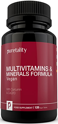 Multivitamins & Minerals Formula | 100% MONEY BACK GUARANTEE | 120 Vegetarian & Vegan Tablets with Curcumin & CoQ10 | One a Day 27 Multi Vitamins with Iron and Minerals for Men and Women by Puretality