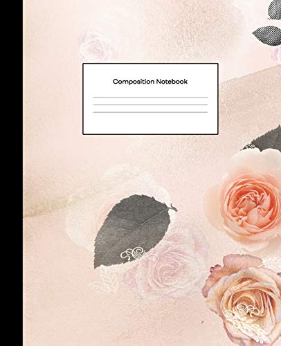 Composition Notebook: College Ruled Blank Lined Notebook Journal for School Writing Notes Bronze Rose Gold Floral Petals
