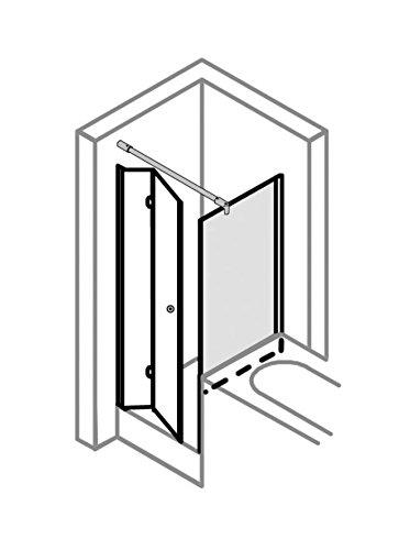 Duschkabine auf Maß, verkürzte Seitenwand auf Badewanne, Typ 5005205 & 5225, Drehfalttür, Alu Silber Matt