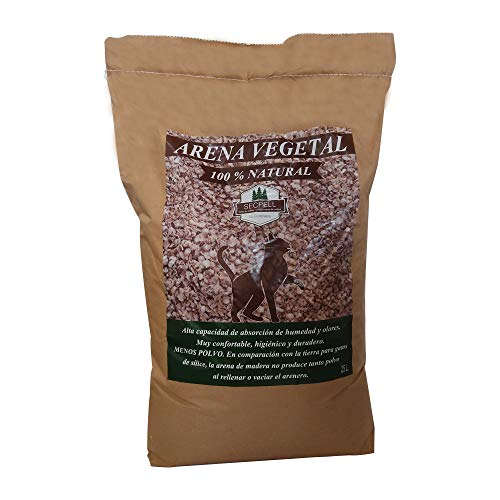 Secpell Arena de Pellets Vegetal para Gatos Compostable y Biodegradable Lecho para Mascotas Natural (25 litros, 9 kg)