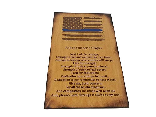 Police Officer Gift Sign - Distressed American Flag with Thin Blue Line and Police Officer's Prayer 8.5 x 5.5 Inches