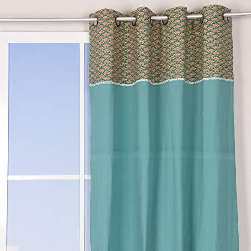 Mooi leven. Ooggordijnen met aanzet en rand schubbenpatroon met bloem turquoise kleurrijk 140x260cm