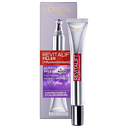 L\'Oréal Paris Hyaluron Augenpflege, Revitalift Filler, Anti-Aging Augencreme, Revolutionäre Doppel-Applikatorspitze, Mit Hyaluronsäure, 15 ml