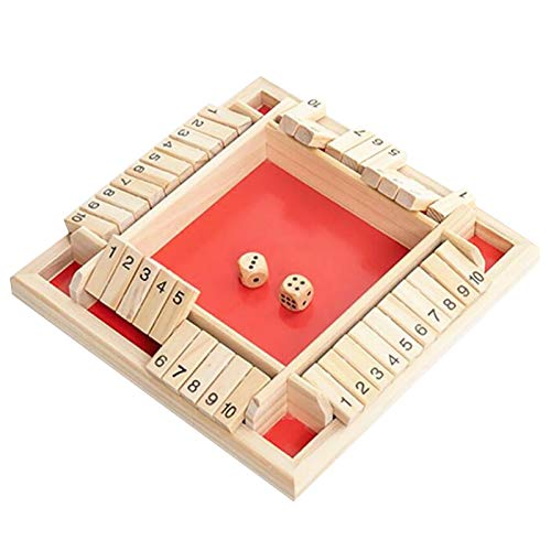 Wooden Board Game with Dice Shut The Box Dice Game (2-4 Players), Wooden Board Game, Four-sided Board Game, Flop Game for Clever Children and Adults