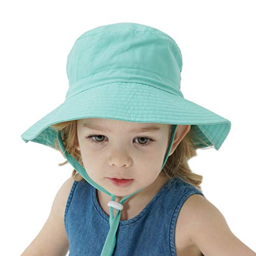 GL SUIT D'été pour Enfants Enfants Chapeaux de Soleil avec Protection UV UPF 50+ Large Brim Plage Hat Chapeau de pêcheur Chapeau pour Bébés Garçons Filles 6 Mois- 8 Ans,Blue Green,M(50~54cm)
