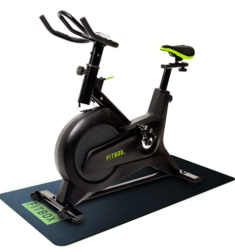 【FITBOX 第3世代フィットネスバイク 極静音】 スピンバイク メーカー1年保証 エクササイズセンサー付き 組立簡単 トレーニング トレーニングバイク ダイエット器具 (ブラック マット付き)