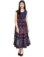 fashiongrape Women's Cotton Long Semi-Stitched Fabric Jaipuri Printed Maxi (Free Size, Navy Blue, fgd7)