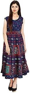 fashiongrape Cotton Women's Maxi Long Semi-Stitched Fabric Jaipuri Printed - Free Size,Navy Blue